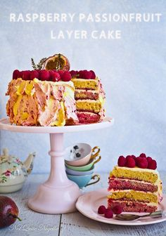 raspberry passionfruit layer cake More