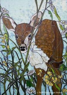 Deer stained glass