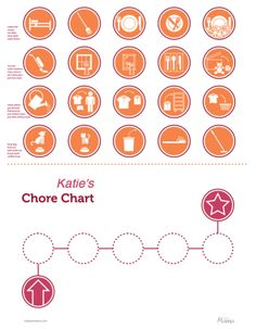 Really like this one: Kids chore chart with pictures for non-readers. Perfect size to glue onto my 1 1/2 in wooden discs for magnets! Also in green and blue