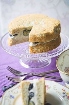 Blueberry and Cream Angel Food Cake