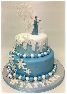 Two tier Disney frozen Elsa and Olaf birthday celebration cake Frozen Party Games, Disney Frozen Party, Frozen Theme, Elsa Frozen, Olaf Birthday, Frozen Birthday Cake, Birthday Cakes, Celebration Cakes, Birthday Celebration