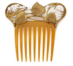 unsigned horn comb with 18K yellow gold and pearl leaf decoration, c. 1900