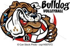 Vector - bulldog with volleyball - stock illustration, royalty free illustrations, stock clip art icon, stock clipart icons, logo, line art, EPS picture, pictures, graphic, graphics, drawing, drawings, vector image, artwork, EPS vector art