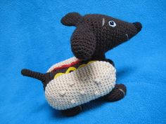 Wiener Dog Dachshund Hot Dog Amigurumi Crochet by Millionbells