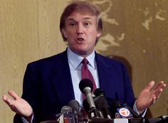 Donald Trump speaks at news conference in a Miami hotel Trump was on a trip to explore the possibility of running for the presidency as Reform Party...