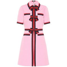 Gucci Silk and Wool Dress (9 695 PLN) ❤ liked on Polyvore featuring dresses, pink, wool dress, woolen dress, pink dress, silk dress and pink silk dress