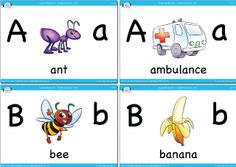 Upper and lowercase vocabulary flashcards from Super Simple Learning.