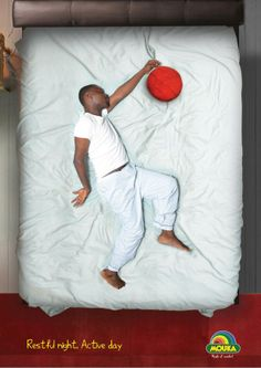 """Restful night. Active day"". Campagna stampa dei materassi Mouka. #ads"