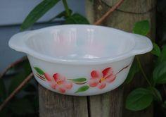 Fire King Peach Blossom Small BowlCasserole by TwinsTreasureTrove
