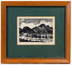 Lot 755: Adolf Dehn (American, 1895-1968) Lithograph; Undated, pencil signed lower right, depicting trees with mountains in the background