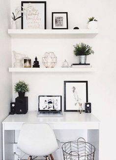 Study Room Decor, Cute Room Decor, Living Room Decor, Bedroom Desk, Room Ideas Bedroom, Bedroom Modern, Trendy Bedroom, Minimalist Bedroom, Modern Minimalist