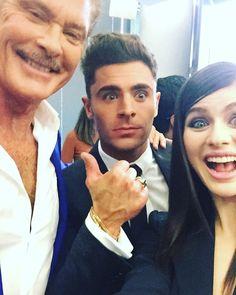 "Alexandra takes a selfie with co-star Zac Efron and original ""Baywatch"" hunk David Hasselhoff"