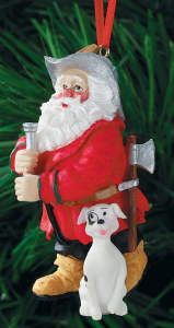 Firefighter Santa And Pal Ornament