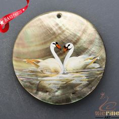 HAND PAINTED SWAN NATURAL MOP MOTHER OF PEARL SHELL  NECKLACE PENDANT ZL3005860 #ZL #PENDANT