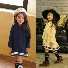 US $26.58 (Watch more - https://alitems.com/g/1e8d114494b01f4c715516525dc3e8/?i=5&ulp=https%3A%2F%2Fwww.aliexpress.com%2Fitem%2Fpreppy-style-long-kids-girls-blouse-dress-khaki-blue-school-girls-clothing-spring-autumn-2017-cotton%2F32777649333.html) preppy style long kids girls blouse dress khaki blue school girls clothing spring autumn 2017 cotton kids dresses for girls long