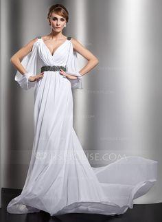 Wedding Dresses - $176.99 - A-Line/Princess V-neck Chapel Train Chiffon Wedding Dress With Ruffle Beadwork (002012610) http://jjshouse.com/A-Line-Princess-V-Neck-Chapel-Train-Chiffon-Wedding-Dress-With-Ruffle-Beadwork-002012610-g12610