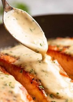 Salmon with Herb & Garlic Cream Sauce   RecipeTin Eats Easy Salmon Recipes, Spicy Recipes, Fish Recipes, Seafood Recipes, Cooking Recipes, Healthy Recipes, Seafood Meals, Potato Recipes, Meat Recipes