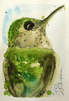 Hummingbird Original Watercolor Painting Bird Art Print