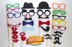 Mustache and Lips 30 Piece Felt Photo Booth by PhotoBoothProp