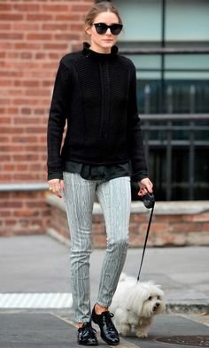 Olivia Palermo takes Mr Butler for a walk in Brooklyn, New York.