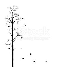 Tree And The Falling Leaves royalty-free stock vector art