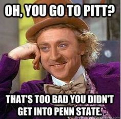 I'm a Penn State football fan but a Pitt basketball fan. It doesn't help that my parents are split between the schools...