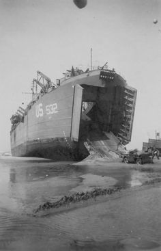 US LST 532 Unloads Jeep On Omaha Beach D-Day Normandy 1944