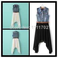 Fashion Clothing New Summer 2014 women's Denim Irregular Hem Sleeveless Chiffon Dress With Belt Casual Women Dress Wholesale