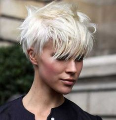 Edgy Pixie Platinum Blonde Hair