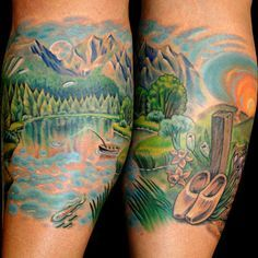lakeside+tattoos | Lakeside landscape tattoo by Sweet Laraine