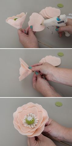 Mason jar crafts diy - How To Make The Most Gorgeous Giant Iceland Poppies Out Of Felt! Felt Flowers, Diy Flowers, Fabric Flowers, Paper Flowers, Wine Bottle Crafts, Mason Jar Crafts, Mason Jar Diy, Felt Diy, Felt Crafts