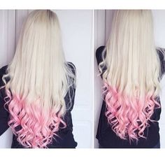 Long blonde hair with curled light pink tips