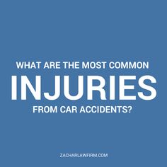 What Are The Most Common Injuries From Car Accidents?  The most common injuries we see in motor vehicle accidents in Arizona are injuries to muscles, to ligaments, to tendons, typically referred to as the soft tissues of the body.  Keep Reading: - http://www.zacharassociates.com/personal-injury-wrongful-death-faq/arizona-personal-injury-video-faq-frequently-asked-questions-and-answers/what-are-the-most-common-injuries-from-car-accidents-arizona-personal-injury-faq/