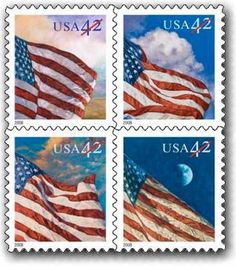24/7 American Flags - Each of the four first-class stamps features a painting by Laura Stutzman of Mountain Lake Park, Maryland, of an American flag flying at a different time of day: sunrise, noon, sunset, and night.