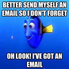 Better send myself an email so I don't forget. OH LOOK! I've got an email! :) This is soooo me! Happens everyday. #Brain_Fog #Chronic_Illness