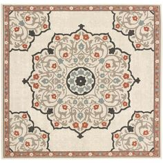 Surya Alfresco 7 x 7 Cream Square Indoor/Outdoor Medallion Bohemian/Eclectic Area Rug in the Rugs department at Lowes.com