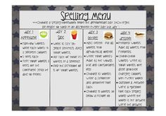 FREE Spelling Menu: Spice up your spelling homework!!!