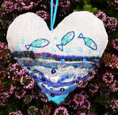 Hanging heart decoration embroidered fish design £15.00