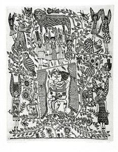 'Angels in the garden' : Barbara Hanrahan : 1989 : print : intaglio : etching, printed in black ink with plate-tone, from one plate