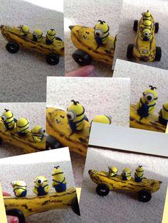 This is my AWANA Grand Prix car. Minions riding a banana. Vintage Porsche, Vintage Cars, Awana Grand Prix Car Ideas, Mc Queen Cars, Girl Scouts, Cub Scouts, Pinewood Derby Cars, Girl Scout Juniors, Cars Birthday Parties