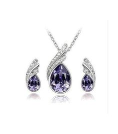 Fashion Austria Crystal Water Drop Leaves Silver Plated Earrings Necklaces Bridal Jewelry Sets Wedding Dress Wedding Accessories