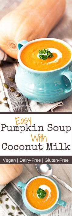 Easy Pumpkin Soup With Coconut Milk Recipe    Pumpkin Soup With Coconut Milk is my favourite soup at this time of year. When the leaves start to turn into the most beautiful colours you know it's not just autumn, it's also pumpkin time.