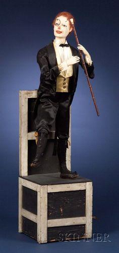 Unique Automaton of a magician/dancer on a Chair by Henry Phalibois (please follow minkshmink on pinterest)