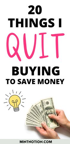 How to stop buying things. Here's a list of 20 things I quit buying to save money. Tips to help you stop buying too much stuff or things you don't need. Best Money Saving Tips, Ways To Save Money, Money Tips, Saving Money, Budgeting Tools, Life On A Budget, Paying Off Student Loans, I Quit, Saving For Retirement