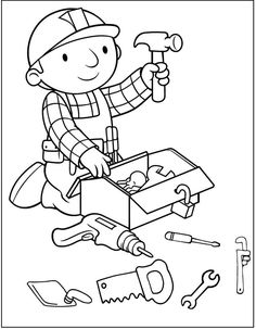 Printable Bob The Builder Coloring Pages For Kids. Bob the Builder is a 1999 stop-motion animation series. Cartoon Coloring Pages, Coloring Pages To Print, Free Printable Coloring Pages, Free Coloring Pages, Boy Coloring, Coloring Sheets For Kids, Coloring Books, Moana Coloring, Birthday Coloring Pages