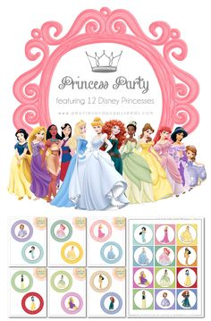 Free Disney Princess Party Printables-this is awesome-printables for 12 individual Princesses. Beautiful!