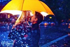love under a yellow umbrella