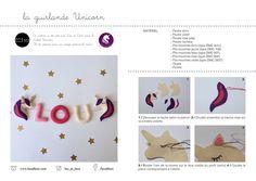 Tutorial free ! Unicorn garland ! #felt #tutorial #handmade #garland #diy Felt Tutorial, Rose Pale, Dmc, Fuchsia, Playing Cards, Kids Rugs, Handmade, Free, Unicorn