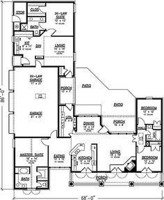Plan 12277JL: Rustic Ranch With In-law Suite   Craftsman, Bonus ...