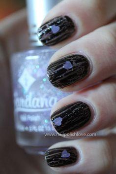 opi, nail polish, shatter, black, hearts, purple, lilac, glitter